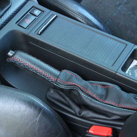 e46 leather emergency brake handle