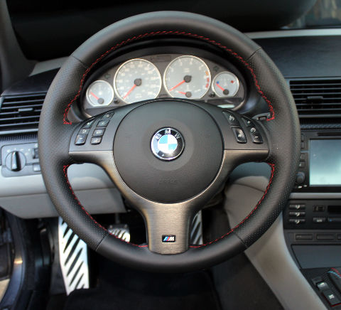 e46 m sport 6 speed leather steering wheel